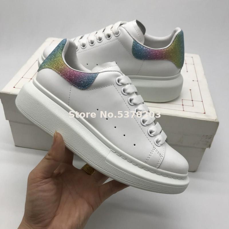 2020 Shoes cauda Jiamen sapatas lisas do arco-íris unisex sapatilhas ocasionais de couro genuíno Lace Up Tamanho 36-45 frete grátis