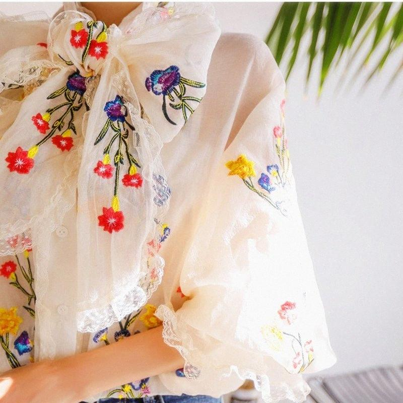 Kadınlar Bluz Lüks Nakış Çiçek Bluzlar Uzun Fener Kol Gevşek Midtown Tops Bayanlar Sweety Büyük Yaylar Bluz NS858 Y8EV #