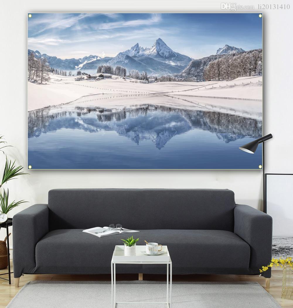 Kar dağ manzara 100 * 150cm toka oda dekorasyon, iç dekorasyon boya, 600d4 yaşayan asılı bayrağı boyama
