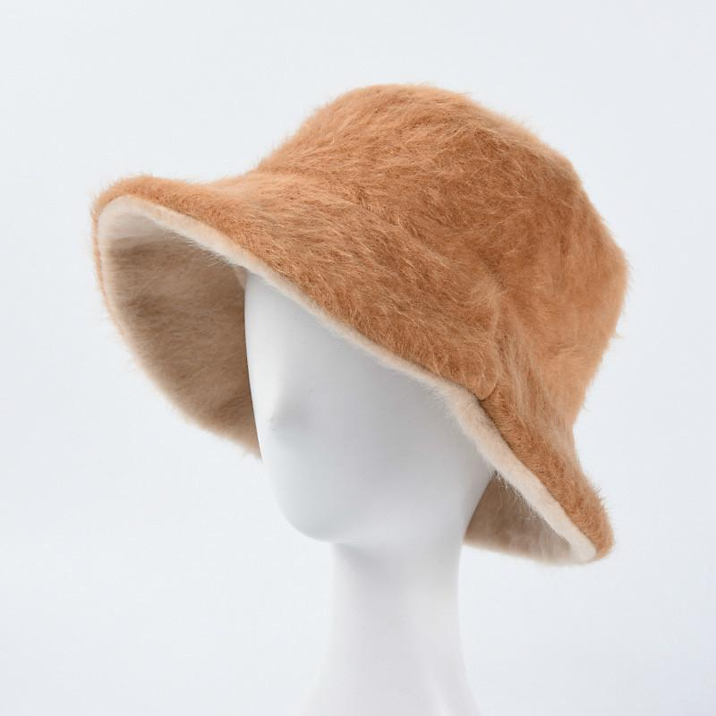 Balde mulheres Double Side Bucket Hat Fur Inverno Hat para as Mulheres menina espessamento macio morno Pesca Cap Outdoor Hat Cap Lady Panamá
