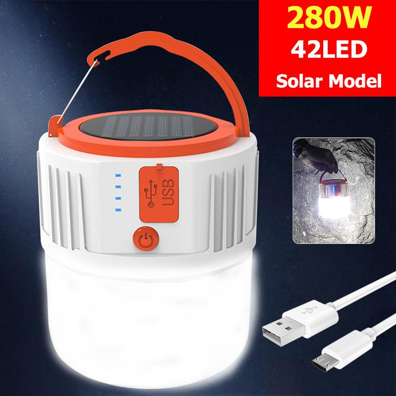 Solar LED Camping Light USB Rechargeable Bulb For Outdoor Tent Lamp Portable Lanterns Emergency Lights 280W 190W For BBQ camping