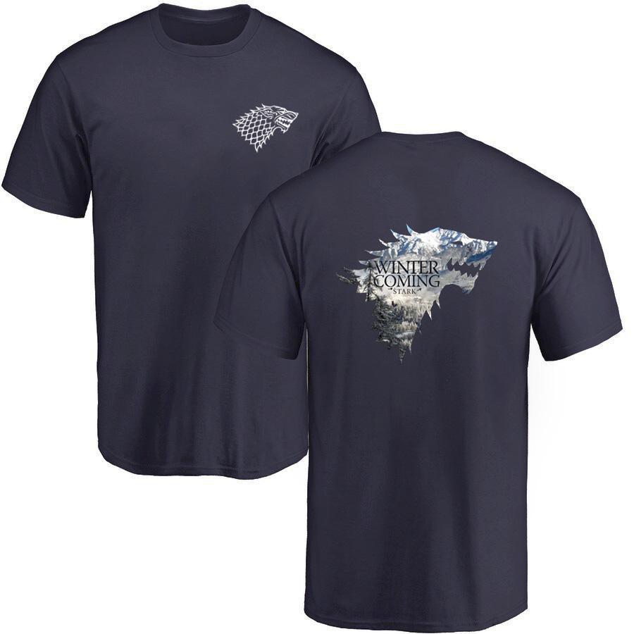 Kış Thrones Man Kısa Kollu Pamuk T Shirt Erkekler tişört homme Oyunu Geliyor Evi Stark gömlek 2019 Yaz Erkek tee başında