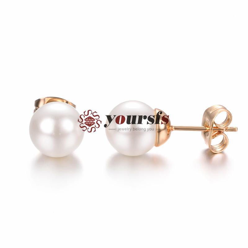 YourFs Fashion Jewelry 18K placcato oro tondo perle orecchini per perle orecchini donne anniversario regalo di compleanno