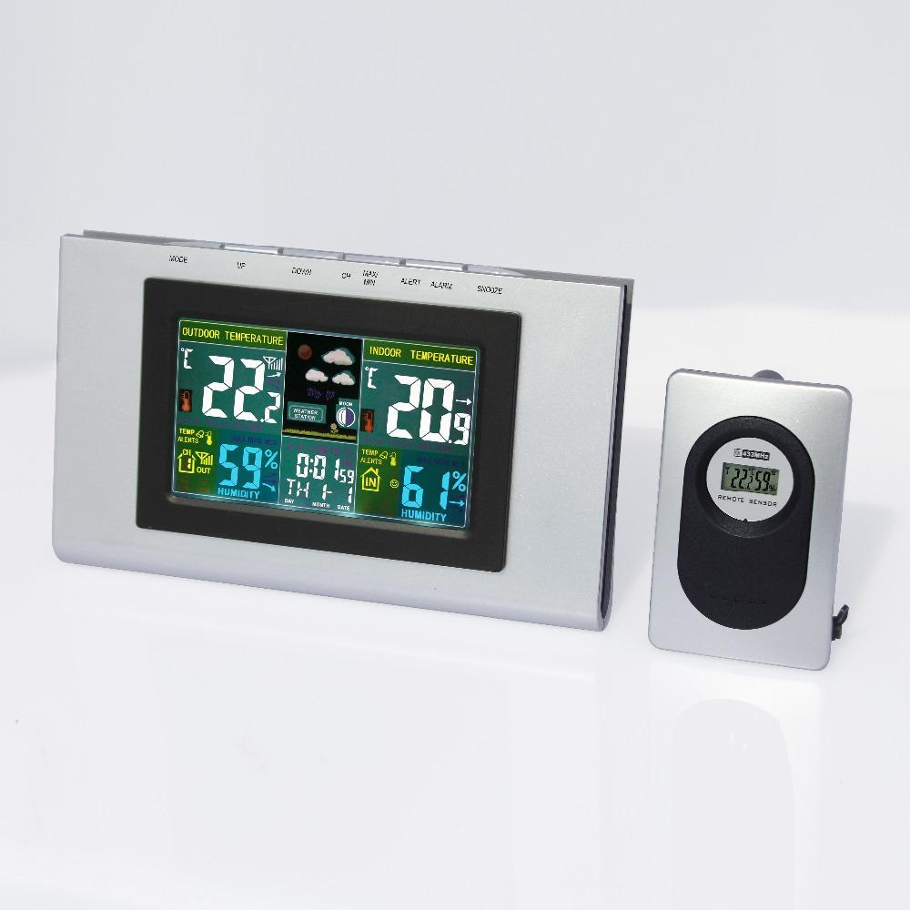 JIMEI H127G-COLOR Wireless Colorful LCD Display Indoor Outdoor thermometer hygrometer Weather Station Electronic Desk Clock