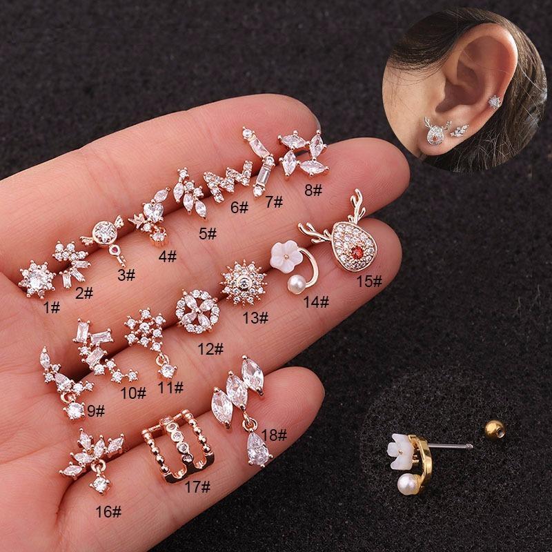 Junxin Cz Moon Star Fleur minuscule Cartilage PENDENTIF Cartilage Stud Oreille Piercing Helix Bijoux Tragus Conch Boucles d'oreilles Stud