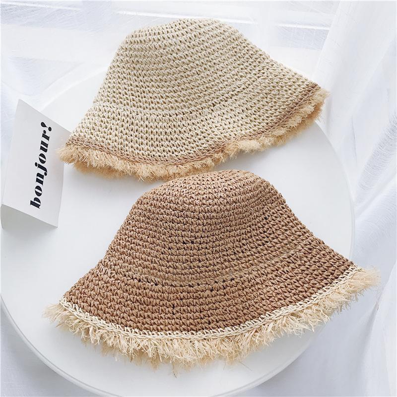 Womens chinês palha Panamá Proteção UV viseira chapéus da praia viseiras dobrável Feminino Verão Chapéu de Sol Mulheres Y200716