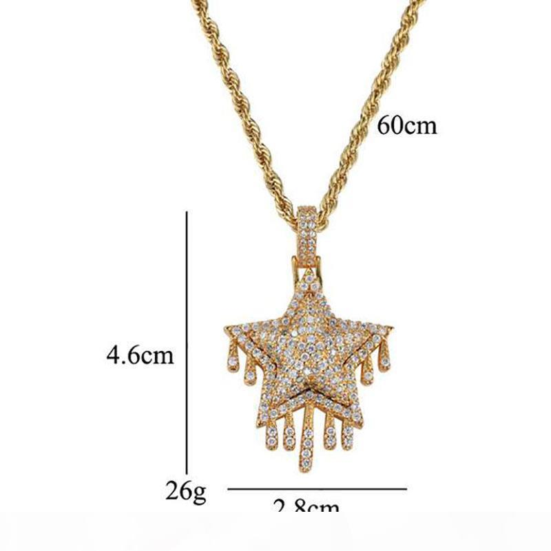 H Men Hip Hop Iced Out Cz Bling Water Droplets Star Pendant Necklace Micro Pave Cubic Zirconia Simulated Diamonds Necklace