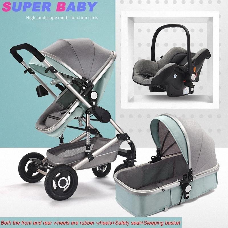 La alta calidad del cochecito de bebé de alta paisaje puede sentarse reclinado plegado ligera recién nacido bebé de dos vías de amortiguación empuje niño stroller1 V5sN #