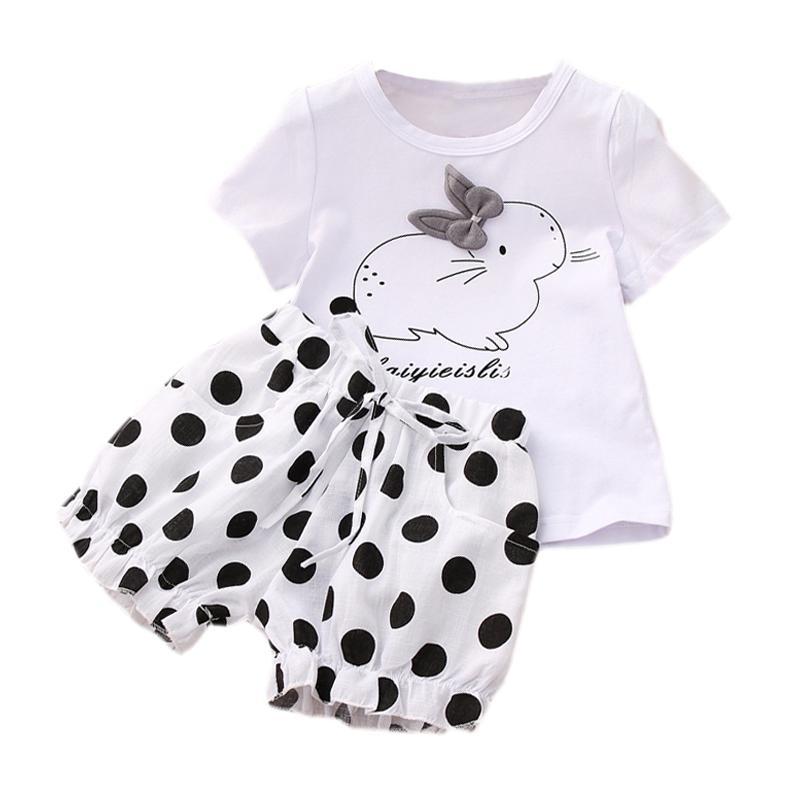 Bebek Kız Takımı Yaz Karikatür Tişörtlü Ve Polka Dot Şort İki Parçalı Set Çocuk Giyim Bebek Kız Çocuk Takım Elbise
