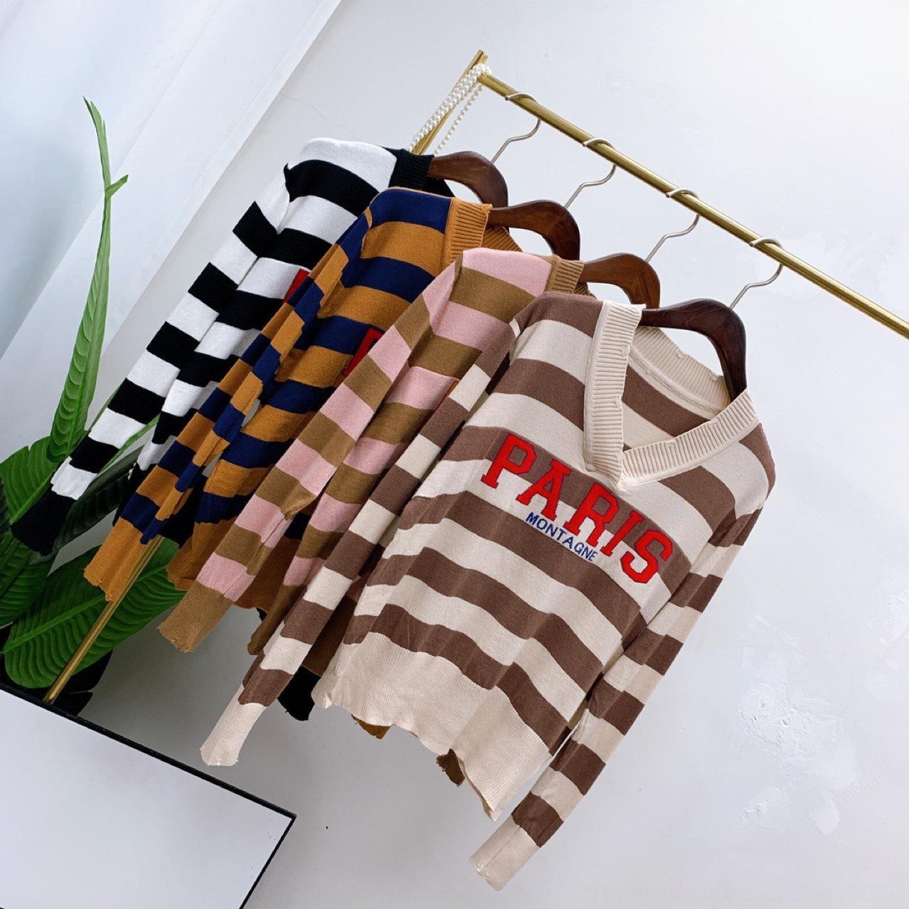 cs / Paris Klassisches T-Shirt mit V-gestreifte neckstyle-Pullover Frauen vertikalen Pullover Frauen Langarm-T-Shirt