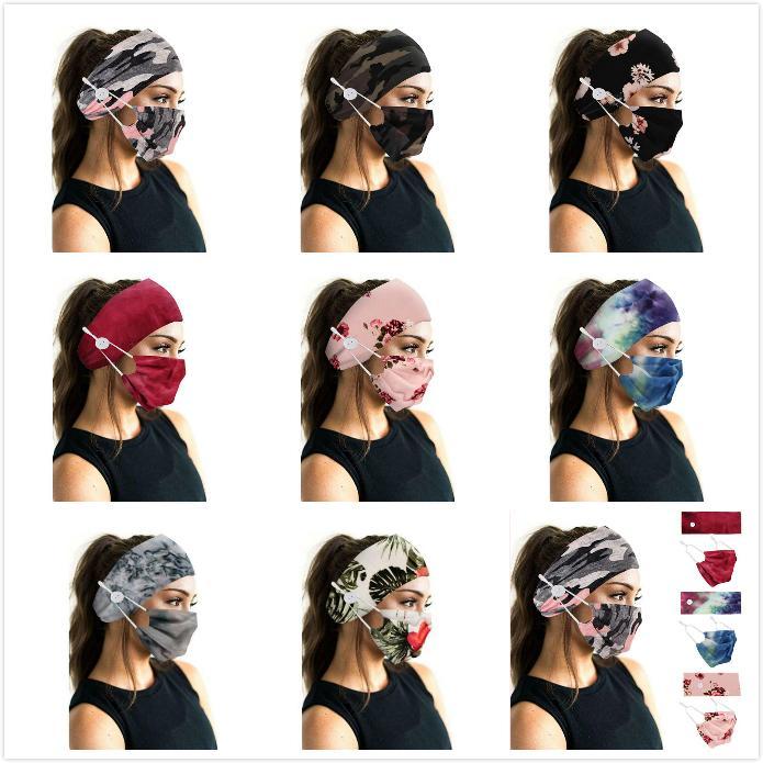 Спортивная заставка Face Маски держатель Оголовье для Камуфляжа Bohemia Floal Стиль Head Wrap диапазон волос Спорт кнопка повязки для женщин девочек