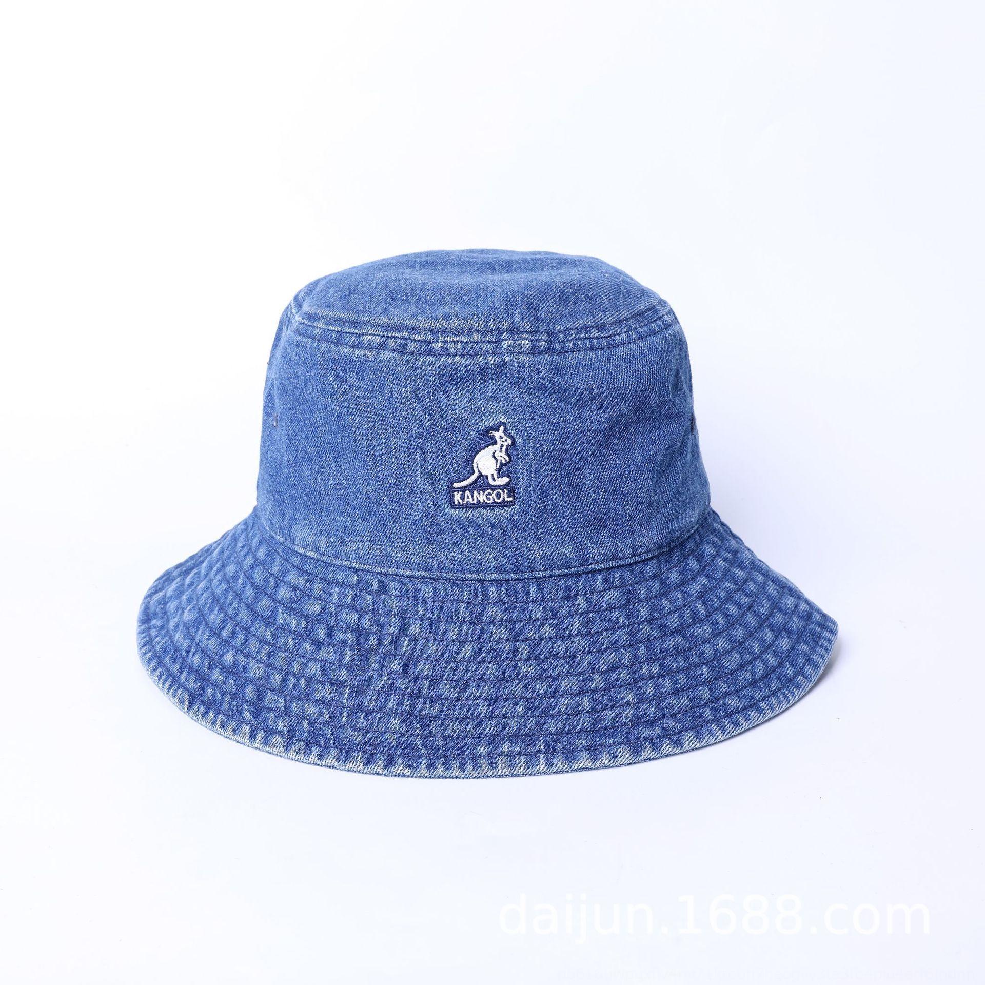 n0bYn Kangol Känguru Cowboy Fischer blau große Krempe Sonnenschirm Freizeit bucket bucket hat Internet Berühmtheit ins Becken Hut der gleichen gewaschen