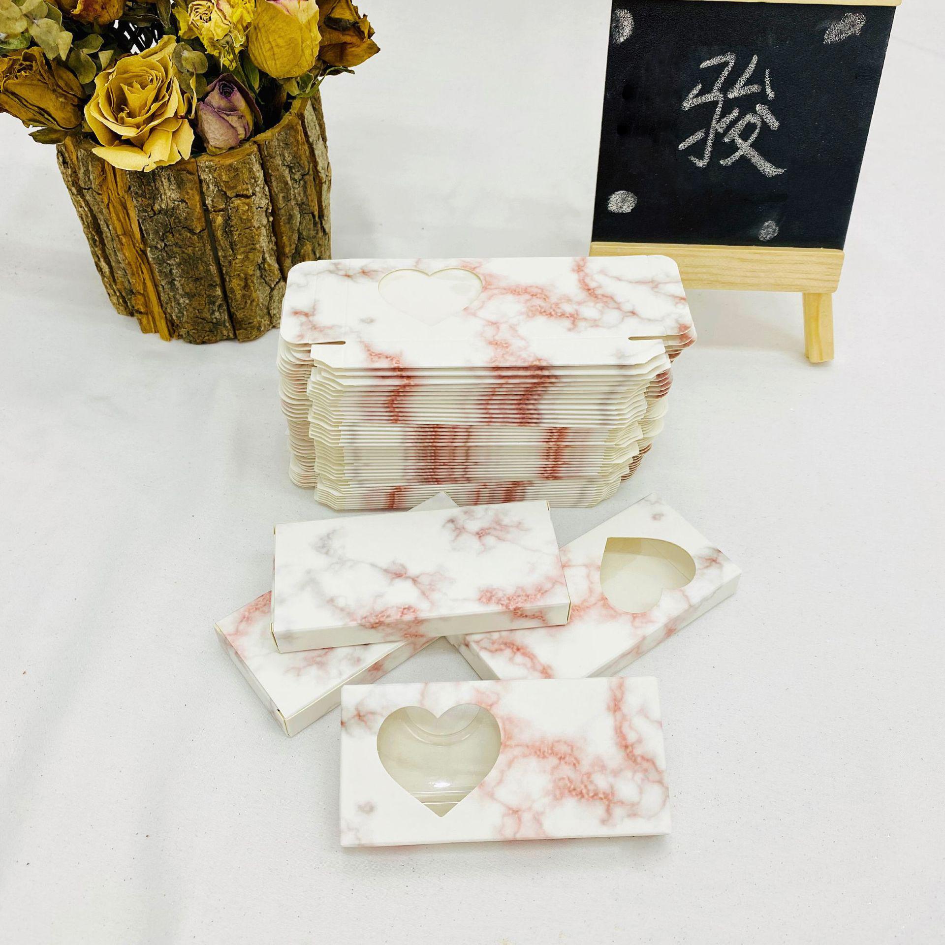 Scatola di imballaggio con ciglia False 3D Pink Box Scatole per ciglia FAUX CILS BLUSH STRUTTURA Vuota Caso di carta Scatole Lash Box Packaging Faux Cils Caso di marmo