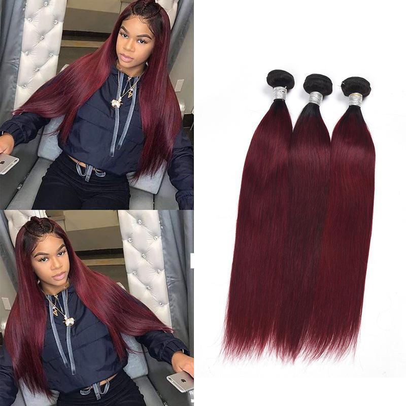 Brésil Virgin Hair Extensions droites 4 Bundles 1B / 1B 99J / Rouge 1B / 30 Ombre de cheveux humains Trames 8-28inch gros Ruyibeauty