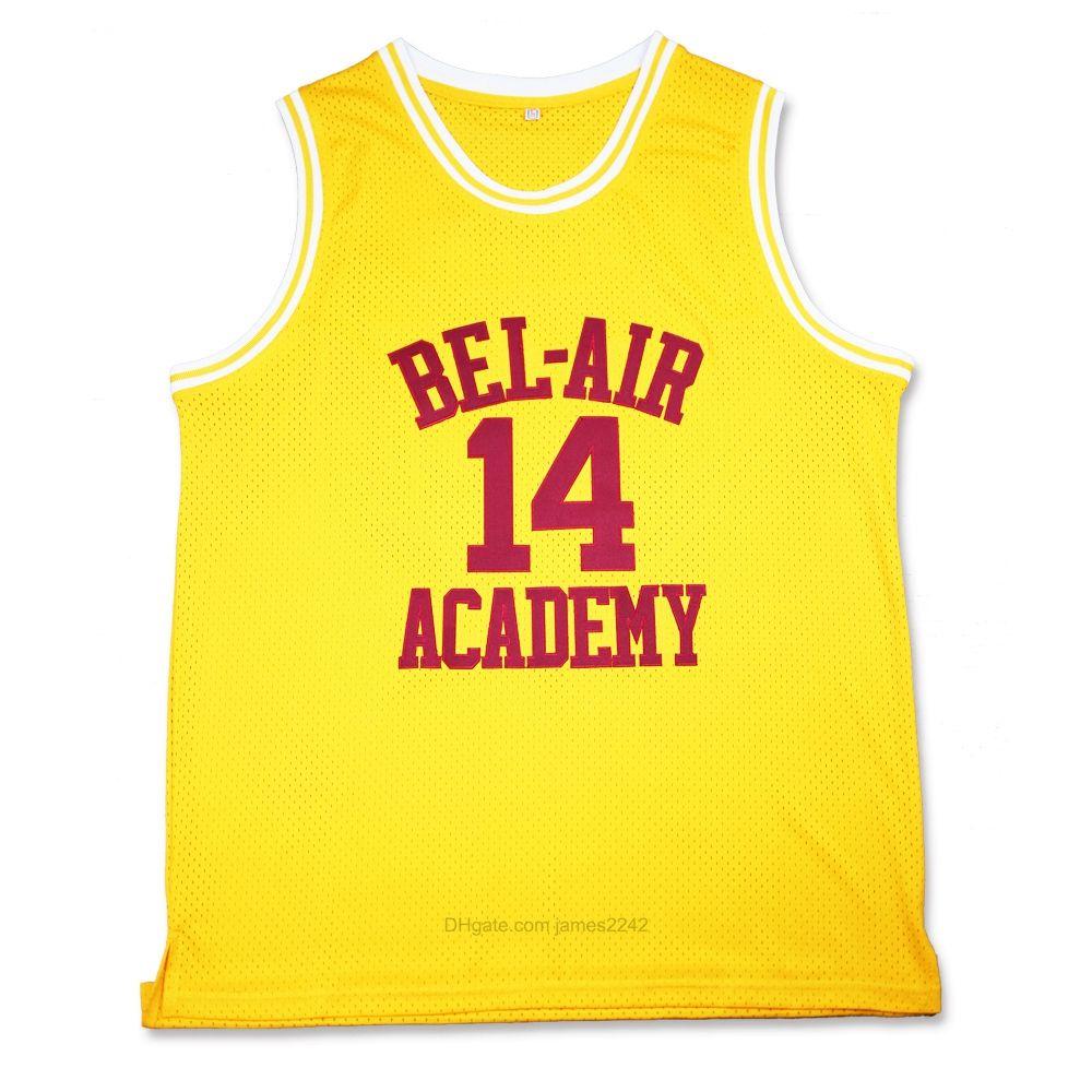 Der frische Prinz von Bel-Air Nr. 14 Will Smith Basketball Jersey Academy Filmversion Gelb gestickte genähte Größe S-3XL