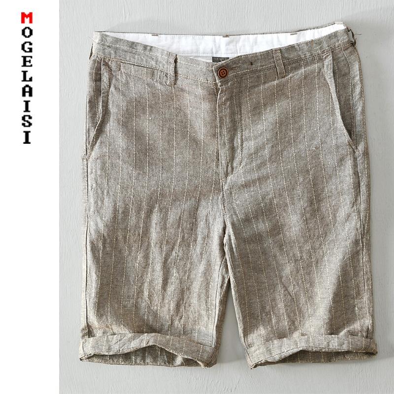 Los nuevos pantalones cortos grises pantalones cortos casuales de alta calidad de la raya ropa de verano hombre bolsillo transpirable corto homme bermudas Masculina 8108