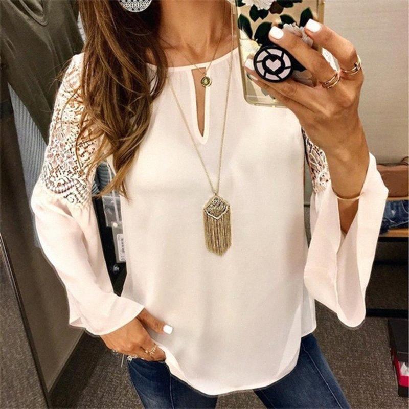 Plus Size 5XL Chiffon Tunika Frauen-Spitze-Flare-Langarm-Büro-Dame-Bluse weiblich Weiß 2020 Sommer O-Ansatz Damen Blusen UQxg #