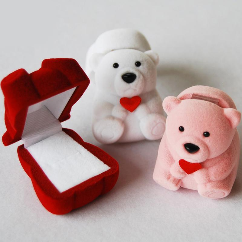Lovely Bear Red Heart Tail Rings Box Earrings Box Animal Cartoon Gifts Boxes Korean Jewelry Case for Engagemen Jewelry Box