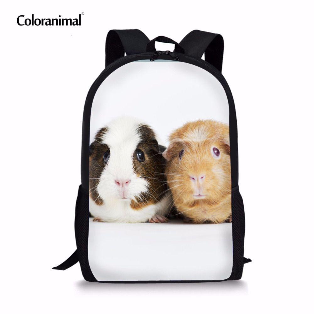 어린 학생들 키즈 십 대 소녀 소년 캐주얼 Mochilas 배낭 대형 기니 돼지 노트북 배낭 T200709에 대한 Coloranimal 햄스터 책가방