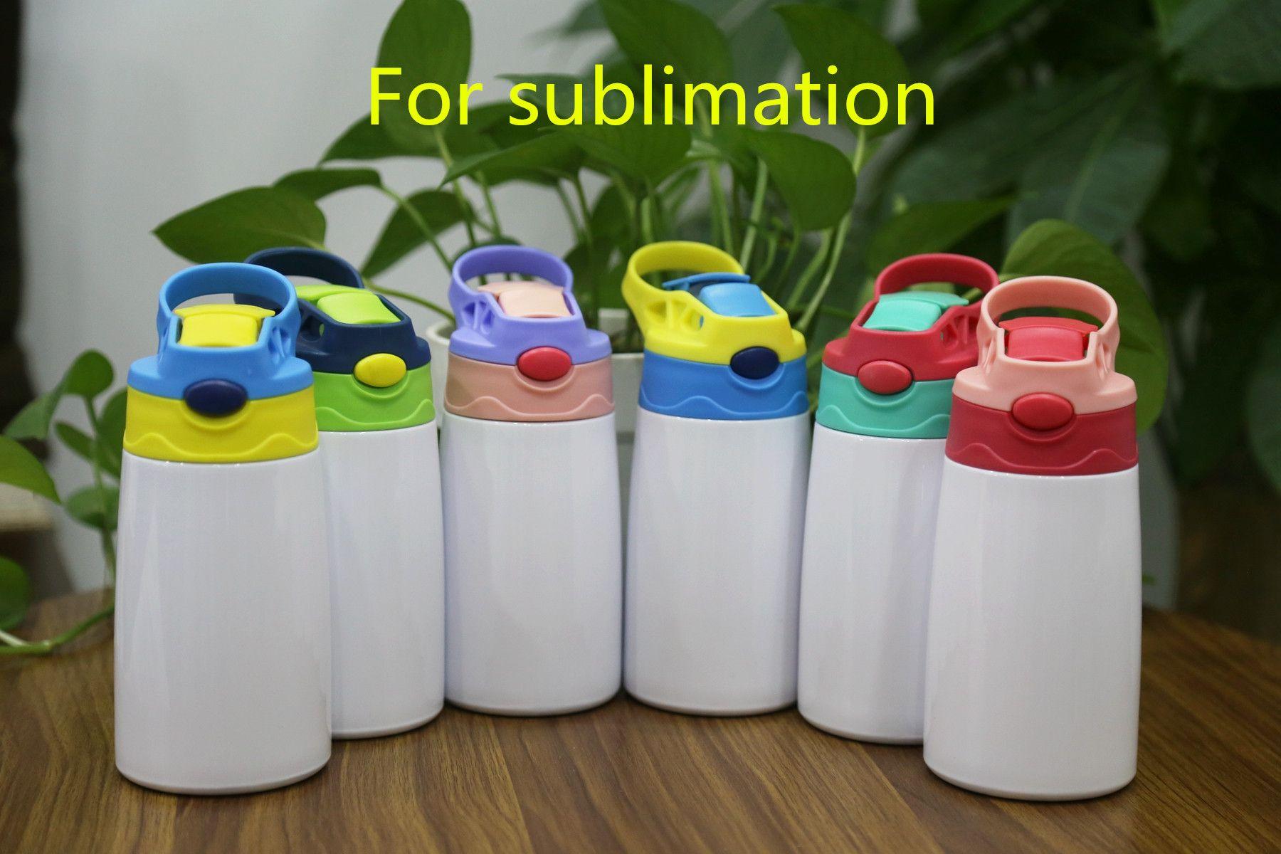 12 أوقية التسامي كأس سيبي 350 ملليلتر التسامي الأطفال زجاجة المياه مع غطاء القش المحمولة الفولاذ المقاوم للصدأ شرب البهلوان للأطفال 6 ألوان
