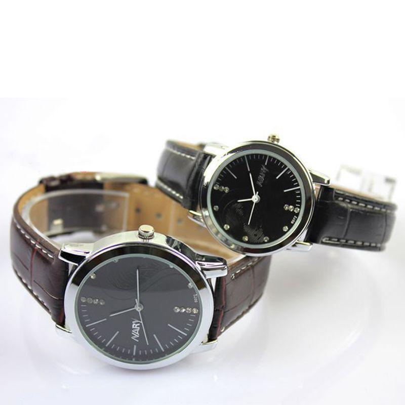 Einfache Art und Weise Frauen-Mann-Uhren wasserdicht beiläufigen Leder-Quarz-Paar-Uhr-Leder-Band-Uhr-Quarz-Armbanduhr-Geschäft