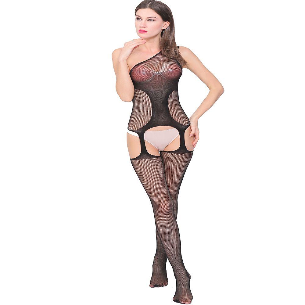 nuova tentazione sexy sexy sexy di un pezzo prospettiva netta collant tentazione giarrettiera W050 di europei e americani Amazon
