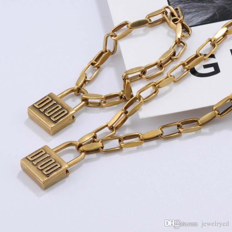 Hot Sale Retro Lock Chain necklace jewelry Set Classic Brass Fashion Woman Necklace and bracelet