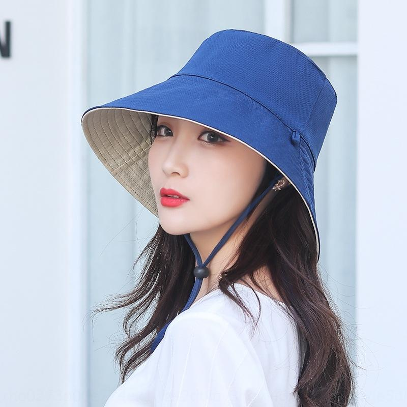 xdLRt Summer sun double-sided beach women friendly hotels bucket Summer sun wind rope cap hat sunscreen da bian mao niao yan bu Wind proof r