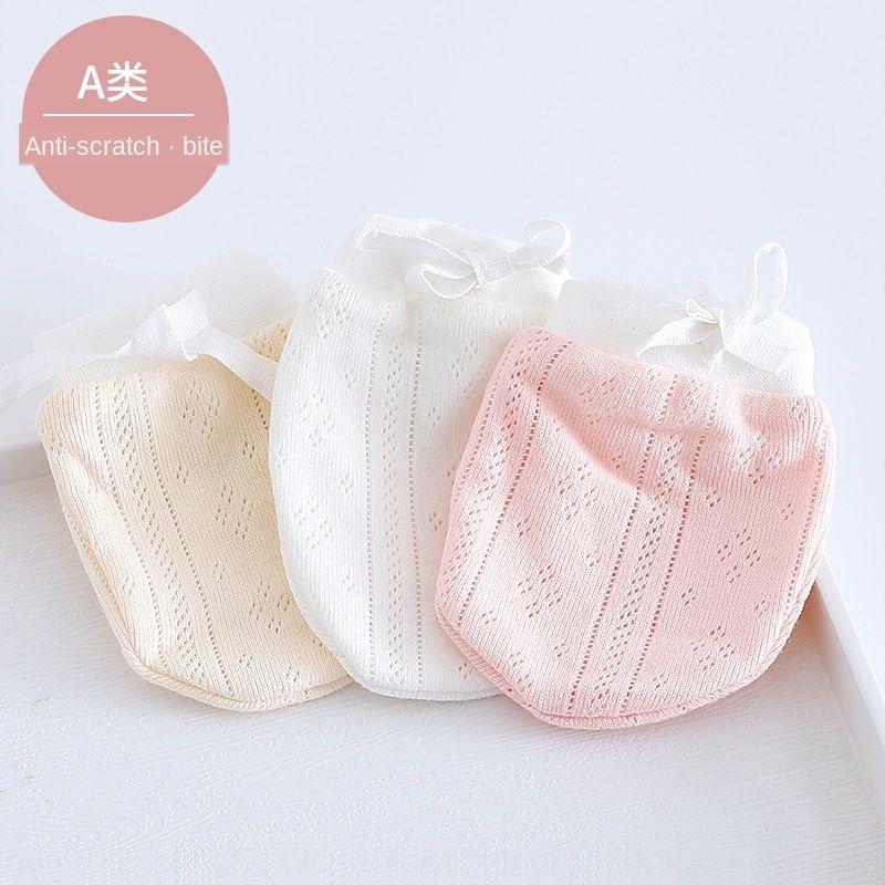 Klein 6 0 Neugeborenen Neugeborenen-dünnes Sommerbaby und Handschuhe 3 reine Baumwollhandschuhe Anti-Kratz-Gesicht Babys in Monaten beißen
