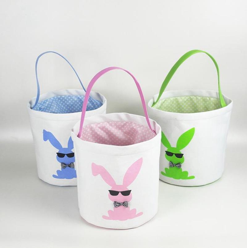 Pascua Conejito Canasta Huevos Bolsos Conejo Impreso Lienzo Bolsos Toys Tote Tote Huevos Hunt Bag 15 Nuevos diseños DW4967