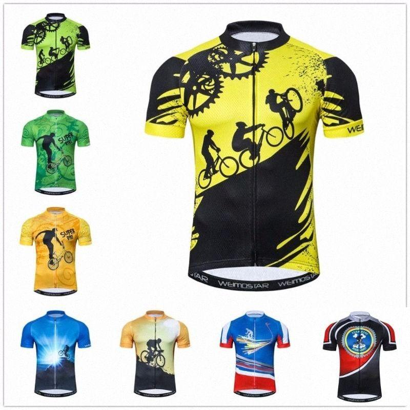 Outdoor Cycling Jersey Mens abbigliamento bici bicicletta Ropa Ciclismo maglia strada Maglia MTB mountain gioventù della bici 2020 Giallo oGMW #