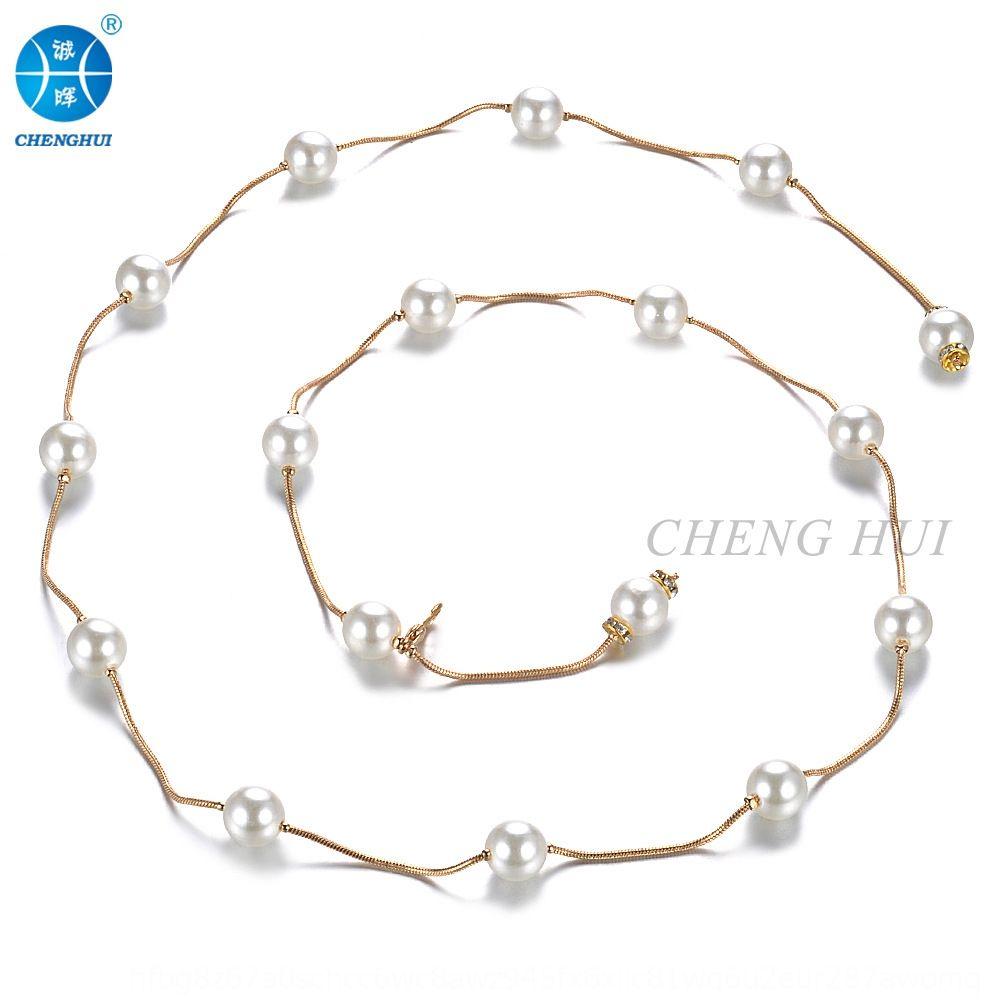 mode décoratif chaîne de taille de danse du ventre de la ceinture de perles de perles fines collier de perles métal perles NtmcZ