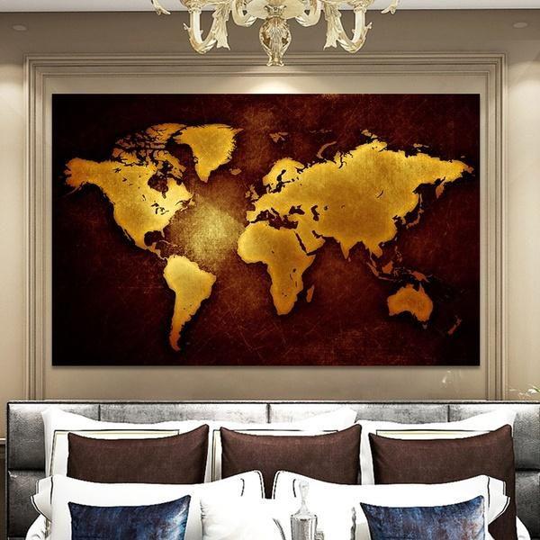 Современные плакаты Черное золото карта мира Картина стены искусства для гостиной Home Decor (без рамки)