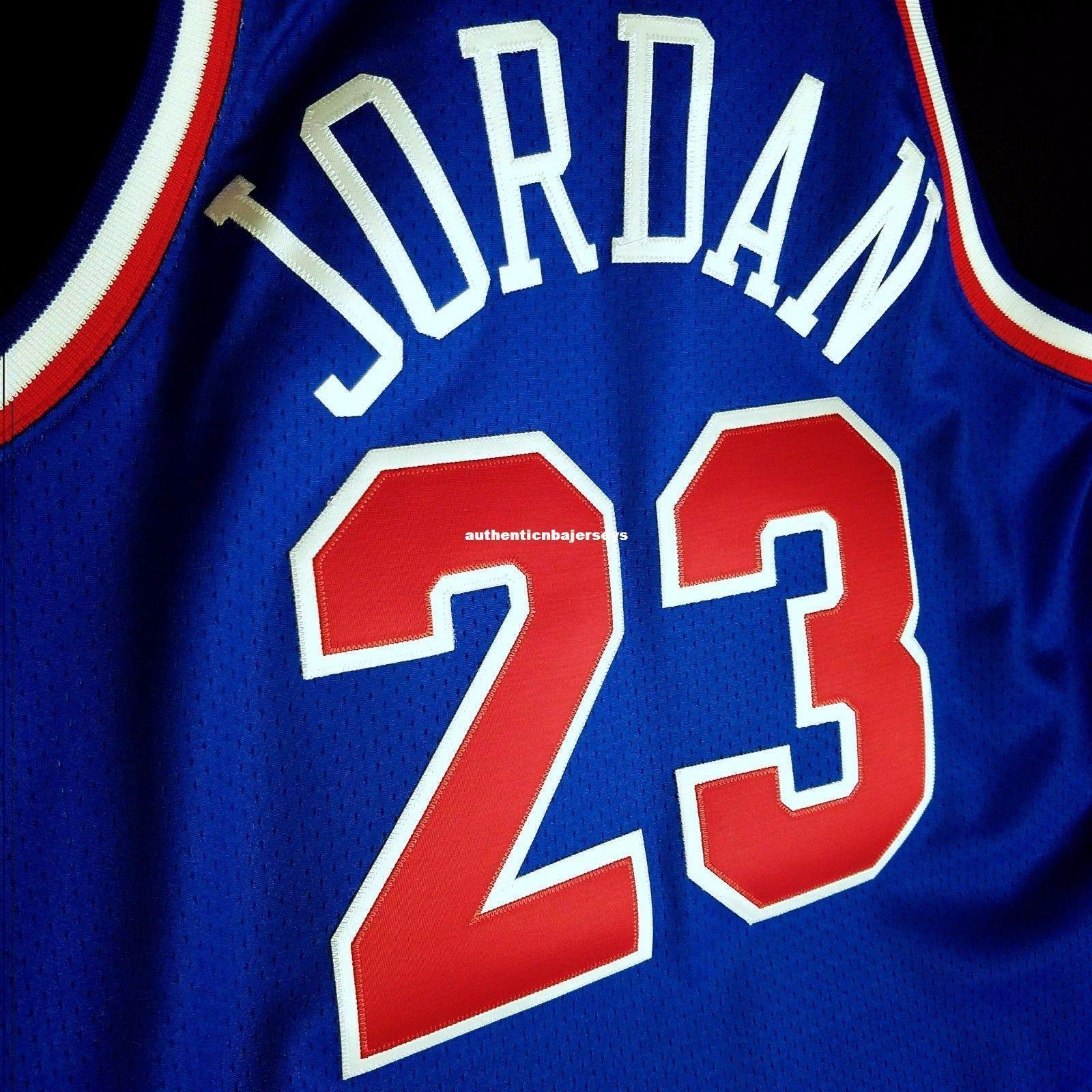 100% cosido Michael # 23 Mitchell Ness 1993 Tamaño azul Jersey Hombres Chaleco XS-6XL cosido jerseys de baloncesto NCAA