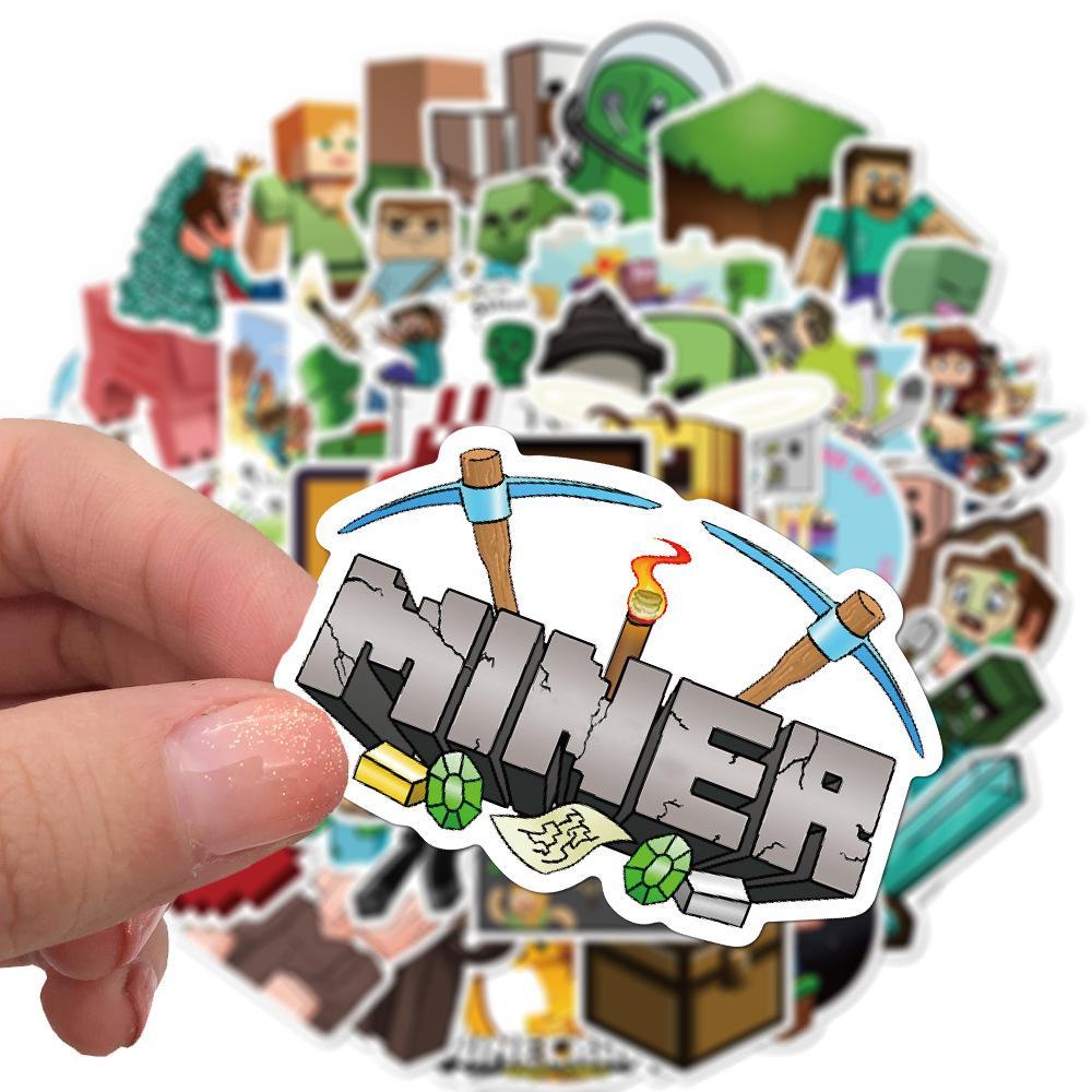 dizüstü çantası bisiklet Kaykay için 50 adet / set Minecraft MC oyunu Küçük su geçirmez çıkartması