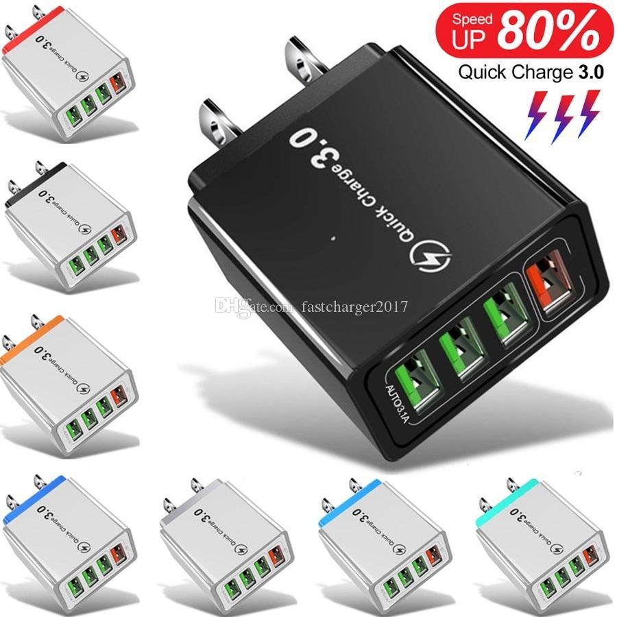 30W 4Ports Quick Carter QC3.0 UE USA Caricatore da parete USA Adattatore di ricarica rapido per iPhone Samsung Tablet PC MP3