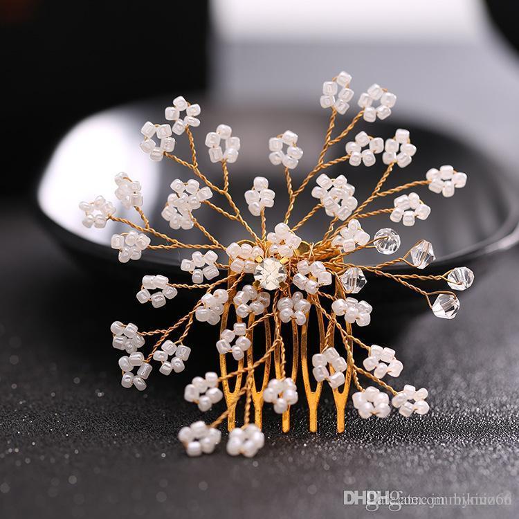 NOVO Bridal Hair Studio cabelo pente de cabelo decorativo tiara de contas de vidro de casamento comb tiara nupcial
