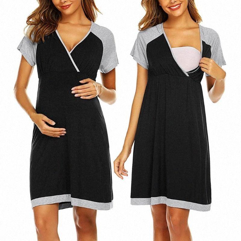 Женщины платья материнства беременных женщин беременных с коротким рукавом смазливая печати Уход Nightdress вскармливание платье беременности платье d1bx #