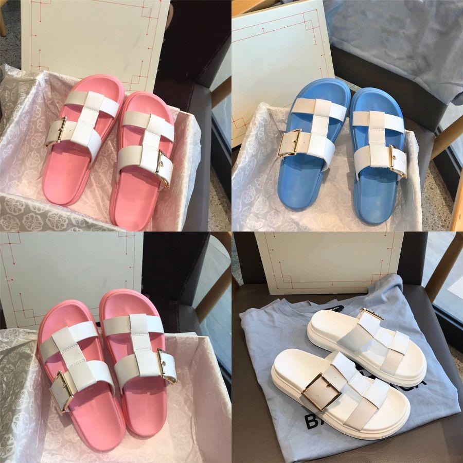 All-Match Beige Heeled Тапочки пряжки ремень Мода женская обувь 2020 Med Кексы обуви Летняя Каблуки Увеличение высоты Black # 276 # 949