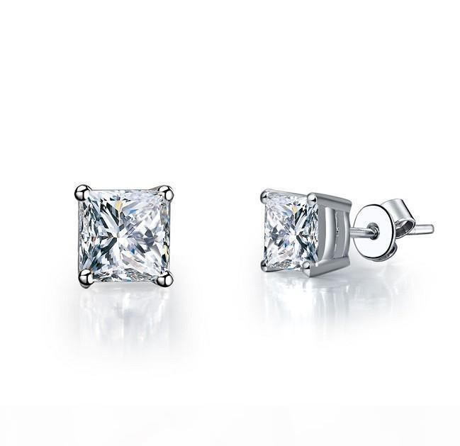 4 carat pair popular affordable Excellent princess cut synthetic diamond stud earrings promise jewelry for girl birthday party