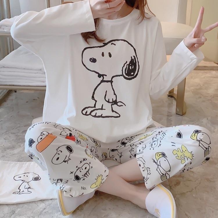 Home clothes cute cartoon printing Snoopy cloth bag women's autumn long sleeve cotton pajamas women's suit pajamas