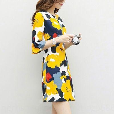 mNh4a IDgID 2020 Kore tarzı kadın giyim moda hepsi maç elbise kadın yenilikçi baskılı A- çizgi çizgi A- elbise mizaç zayıflama