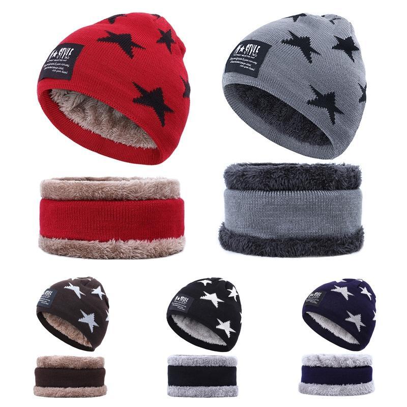 Inverno caldo Cappello di lana spessa peluche foderato di velluto Cappello invernale Sciarpa Sport Caps cappello del Beanie sciarpa Set