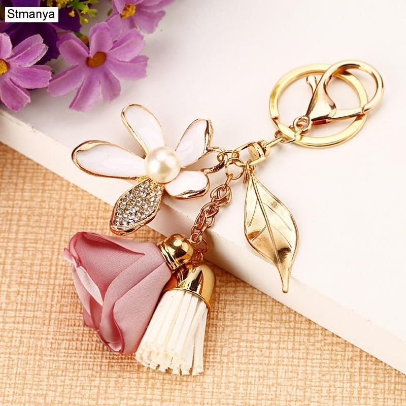 Cloth Flower Key Ring Chiffon Tassel Car Key Chains Lady Couple Bag New Fashion Charm Flower Keychain Party Gift K2029 EjwD#
