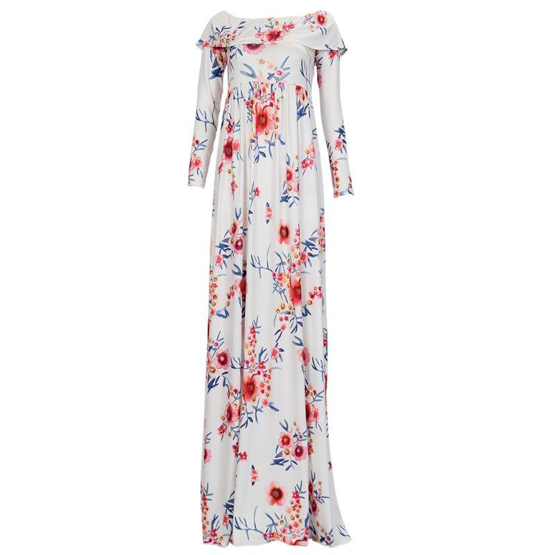 Pregnant Women off shoulder Floral Printed Maternity Photography Dress NEW Fashion long sleeve Clothes Pregnancy Dresses