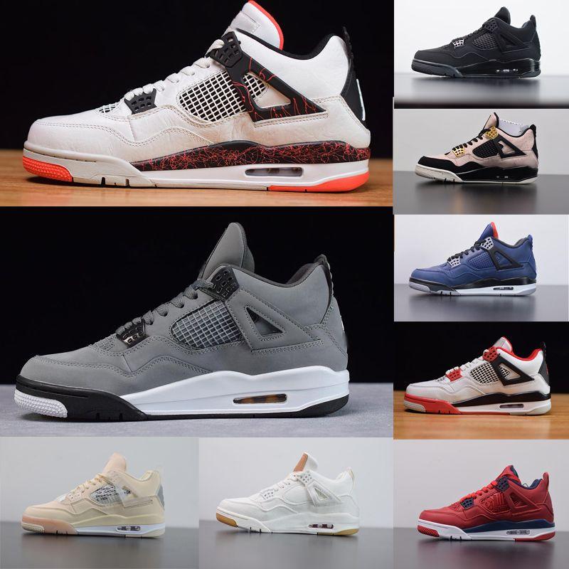 En Kalite Spor Ayakkabıları Sadık Mavi Soluk Citron Erkekler Basketbol Sneakers Gerçek Deri FIBA 4s Gri koşu ayakkabıları Soğuk stilist Ayakkabı Mesh