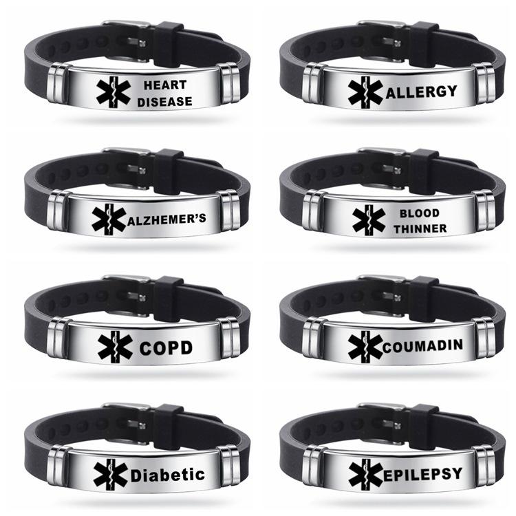 Type 1 Diabetes Fashion standard Alert ID Silicone Bracelet ICE Bangles Wristband Adjustable Length For Men Women Child Jewelry