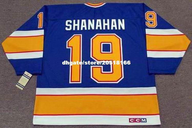 bordados personalizados para hombre Brendan Shanahan St. Louis Blues 1991 CCM Vintage bordado barato Hockey Jersey Retro