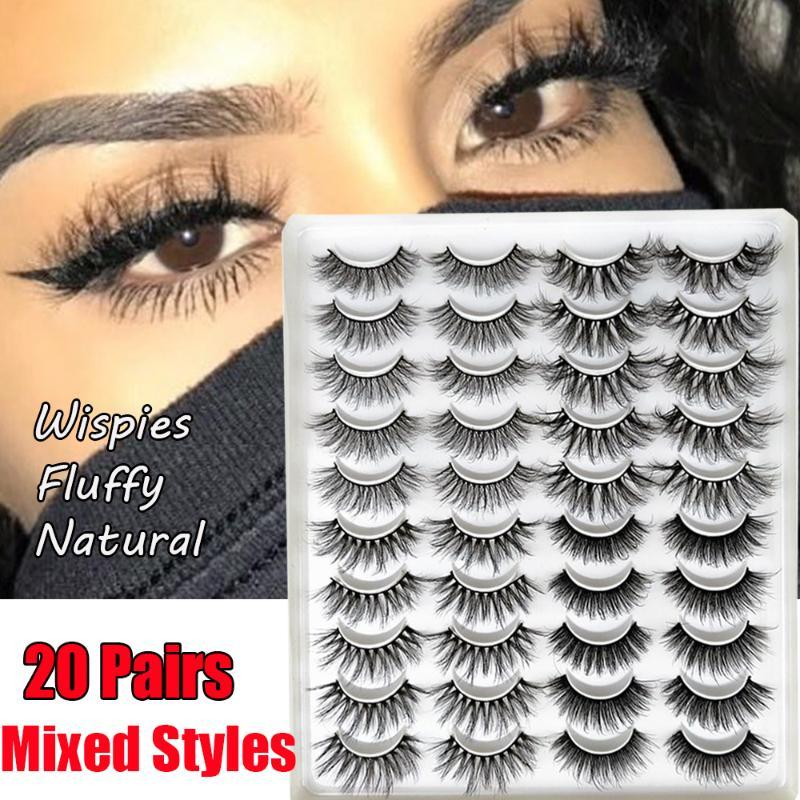 20 Pairs Fashion Mixed 3D Mink Handmade Natural Wispy Criss-cross Fluffy Eyelashes Extension Beauty Fashion Makeup Tools