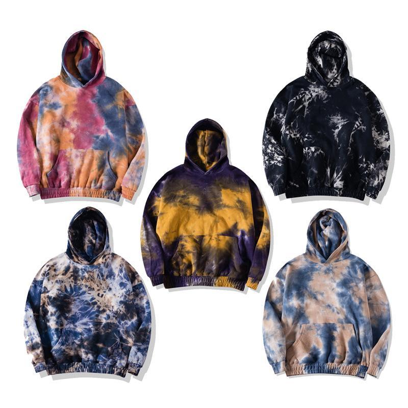 e senhora Homens Songsanding Top Quality Casual solta Camisolas mais grossa de veludo Oversize Hoodie Tie-dye Sweater